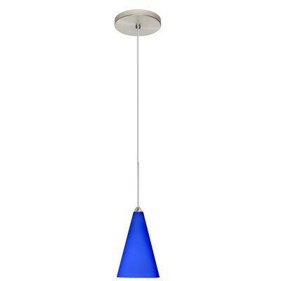Kiki 1-Light Mini Pendant Finish: Satin Nickel, Shade Color: Cobalt Blue Matte