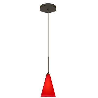 Kiki 1-Light Mini Pendant Finish: Brushed Bronze, Shade Color: Ruby Matte