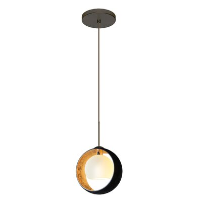 Speidel 1 Bulb Mini Pendant Finish: Brushed Bronze, Shade Color: Gold Foil