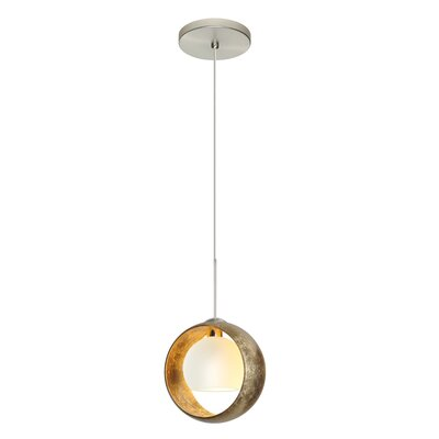Speidel Halogen 1-Light Mini Pendant Shade Color: Gold Foil, Finish: Satin Nickel, Bulb Type: LED