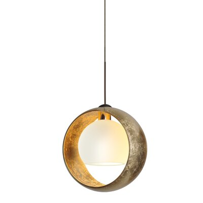 Pogo 1-Light Mini Pendant Finish: Brushed Bronze, Shade Color: Gold Foil, Bulb Type: LED