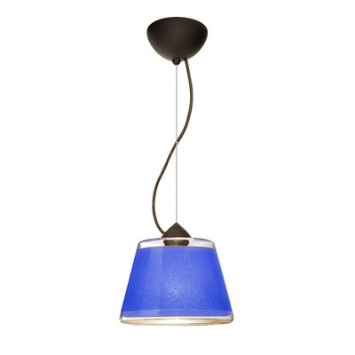 Pica 1 Bulb Drum Pendant Finish: Brushed Bronze, Shade Color: Blue