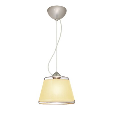 Pica 1 Bulb Drum Pendant Finish: Satin Nickel, Shade Color: Creme