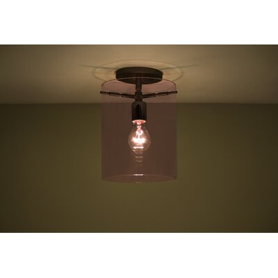 Pahu 1-Light Semi Flush Mount Finish: Brushed Bronze, Shade Color: Amethyst