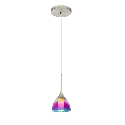 Cavan 1 LED Integrated Bulb Mini Pendant Shade Color: Pink Dicro, Finish: Satin Nickel