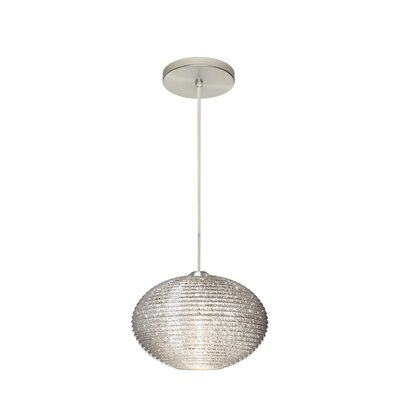 Pape 1-Light Globe Pendant Finish: Satin Nickel, Shade Color: Glitter, Size: 6.88 H x 10.25 W x 10.25 D