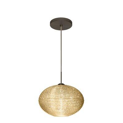 Pape 1-Light Globe Pendant Shade Color: Gold Glitter, Size: 7.5 H x 11.75 W x 11.75 D, Finish: Brushed Bronze