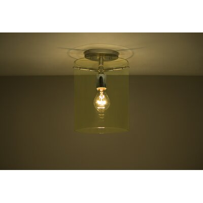 Pahu 1-Light Semi Flush Mount Shade Color: Gold, Finish: Satin Nickel