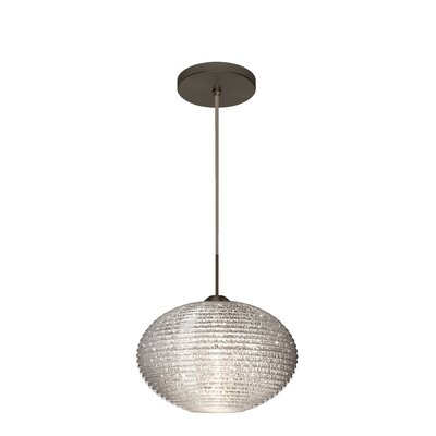 Pape 1-Light Globe Pendant Finish: Brushed Bronze, Shade Color: Glitter, Size: 7.5 H x 11.75 W x 11.75 D