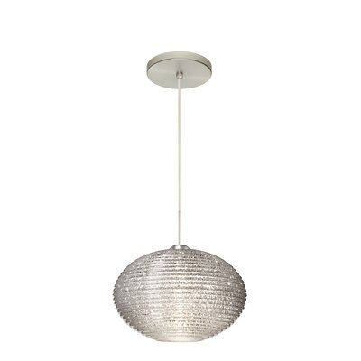 Pape 1-Light Globe Pendant Finish: Satin Nickel, Shade Color: Glitter, Size: 7.5 H x 11.75 W x 11.75 D