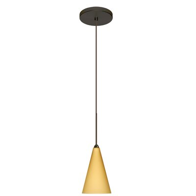 Kiki 1-Light Mini Pendant Shade Color: Vanilla Matte, Finish: Brushed Bronze