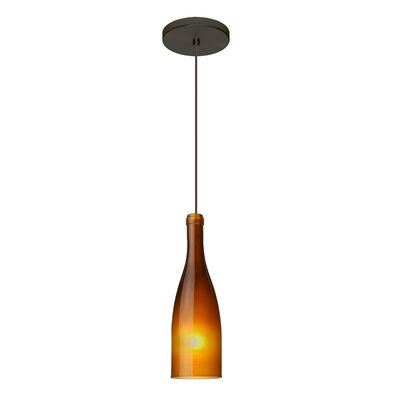 Botella 1-Light Mini Pendant Finish: Brushed Bronze, Shade Color: Amber, Size: 10 H x 3.2 W x 3.2 D