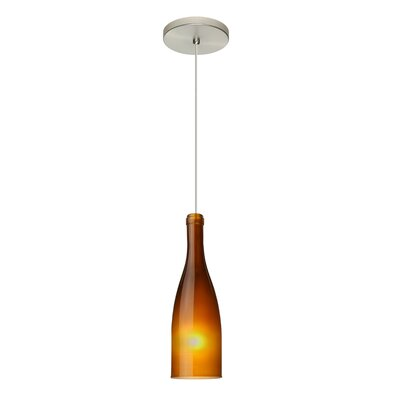 Botella 1-Light Mini Pendant Finish: Satin Nickel, Shade Color: Amber, Size: 10 H x 3.2 W x 3.2 D
