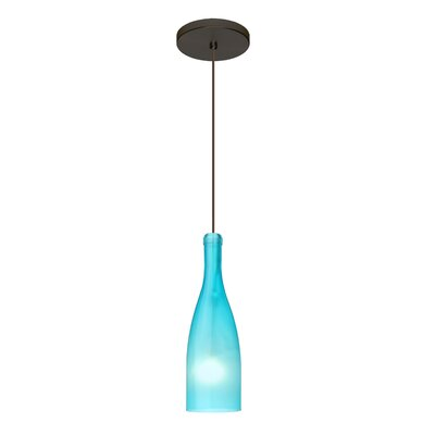 Botella 1-Light Mini Pendant Finish: Brushed Bronze, Shade Color: Blue, Size: 10 H x 3.2 W x 3.2 D