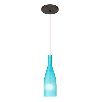 Botella 1-Light Mini Pendant Size: 10 H x 3.2 W x 3.2 D, Finish: Brushed Bronze, Shade Color: Blue