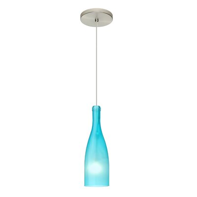 Botella 1-Light Mini Pendant Finish: Satin Nickel, Size: 10 H x 3.2 W x 3.2 D, Shade Color: Blue