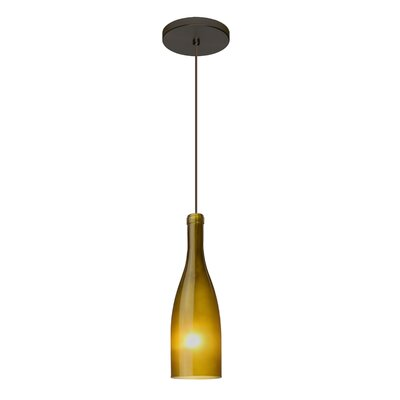 Botella 1-Light Mini Pendant Finish: Brushed Bronze, Shade Color: Green, Size: 10 H x 3.2 W x 3.2 D