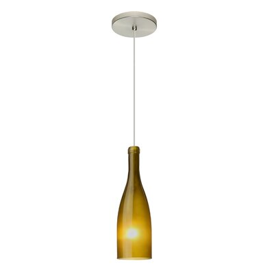 Botella 1-Light Mini Pendant Finish: Satin Nickel, Shade Color: Green, Size: 10 H x 3.2 W x 3.2 D