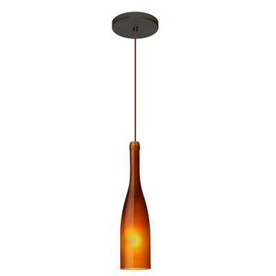 Botella 1-Light Mini Pendant Finish: Brushed Bronze, Shade Color: Amber, Size: 12 H x 3 W x 3 D
