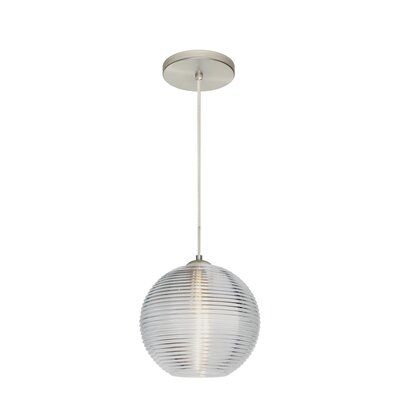 Kristall 1 LED Integrated Bulb Globe Pendant Shade Color: Clear, Finish: Satin Nickel