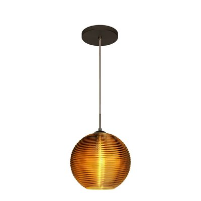 Kristall 1 LED Integrated Bulb Globe Pendant Finish: Brushed Bronze, Shade Color: Amber