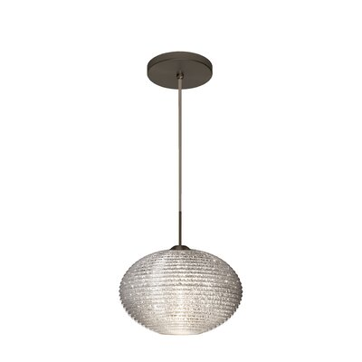 Pape 1-Light Globe Pendant Finish: Brushed Bronze, Shade Color: Glitter, Size: 6.88 H x 10.25 W x 10.25 D