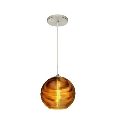 Kristall 1 Integrated Bulb Globe Pendant Finish: Satin Nickel, Shade Color: Amber