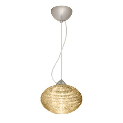 Pape 1-Light Globe Pendant Shade Color: Gold Glitter, Size: 6.88 H x 10.25 W x 10.25 D, Finish: Satin Nickel