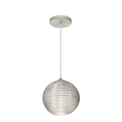 Kristall 1 Integrated Bulb Globe Pendant Finish: Satin Nickel, Shade Color: Glitter