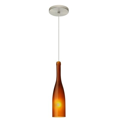Botella 1-Light Mini Pendant Finish: Satin Nickel, Shade Color: Amber, Size: 12 H x 3 W x 3 D