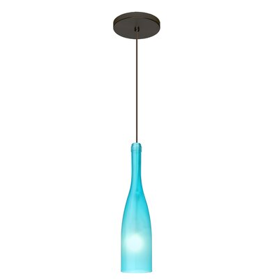 Botella 1-Light Mini Pendant Finish: Brushed Bronze, Shade Color: Blue, Size: 12 H x 3 W x 3 D