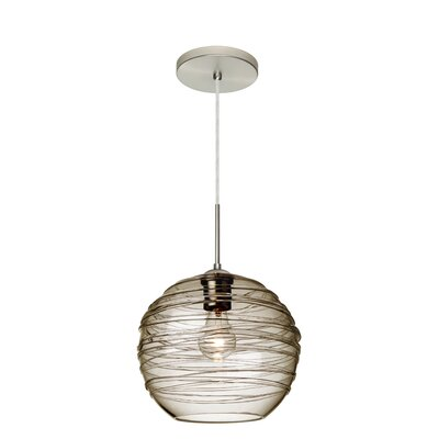 Wave 1-Light Globe Pendant Shade Color: Smoke, Finish: Satin Nickel