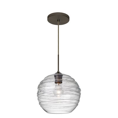 Wave 1-Light Globe Pendant Finish: Brushed Bronze, Shade Color: Clear
