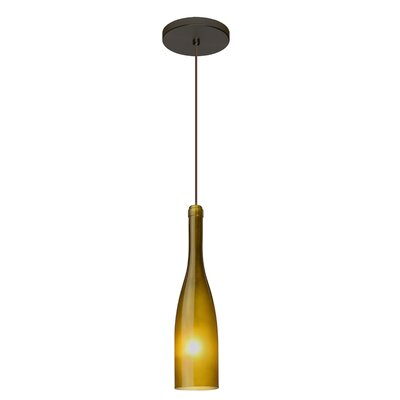 Botella 1-Light Mini Pendant Finish: Brushed Bronze, Shade Color: Green, Size: 12 H x 3 W x 3 D
