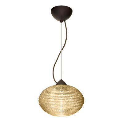 Pape 1-Light Globe Pendant Finish: Brushed Bronze, Shade Color: Gold Glitter, Size: 7.5 H x 11.75 W x 11.75 D