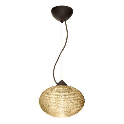 Pape 1-Light Globe Pendant Finish: Brushed Bronze, Shade Color: Gold Glitter, Size: 7.5 H x 11.75 W x 11.75 D