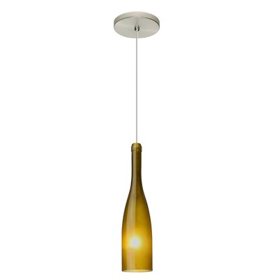 Botella 1-Light Mini Pendant Finish: Satin Nickel, Shade Color: Green, Size: 12 H x 3 W x 3 D