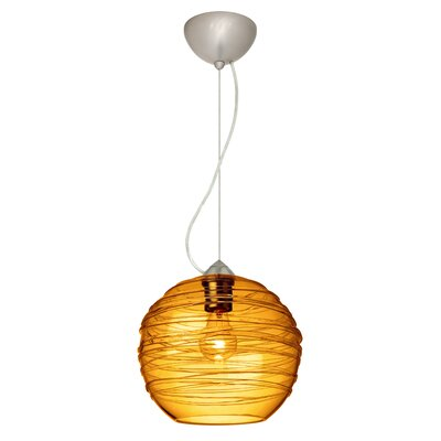 Wave 1-Light Globe Pendant Finish: Satin Nickel, Shade Color: Amber