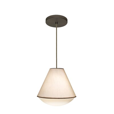Reflex 1-Light Pendant Shade Color: White, Finish: Brushed Bronze