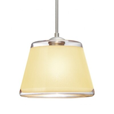 Pica 1 Bulb Drum Pendant Finish: Brushed Bronze, Shade Color: Creme