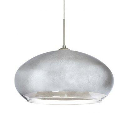 Brio 1-Light Inverted Pendant Finish: Satin Nickel, Shade Color: Silver Foil