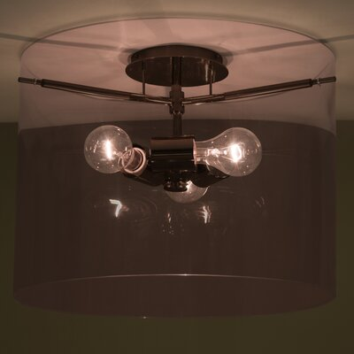 Pahu 3-Light Semi Flush Mount Finish: Brushed Bronze, Shade Color: Amethyst, Size: 11.75 H x 15.75 W x 15.75 D