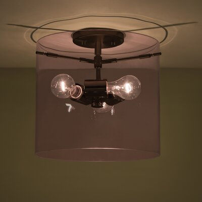Pahu 3-Light Semi Flush Mount Finish: Brushed Bronze, Shade Color: Olive, Size: 11.75 H x 15.75 W x 15.75 D