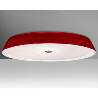 Speier 3-Light Flush Mount Shade Color: Red, Bulb Type: Halogen