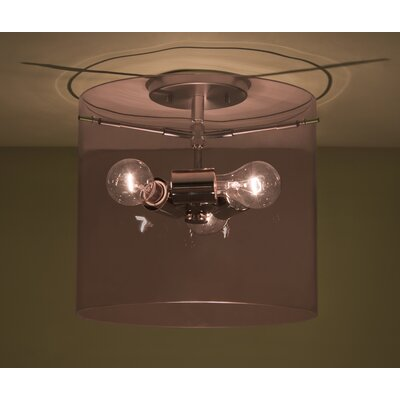 Pahu 1-Light Semi Flush Mount Shade Color: Smoke, Size: 11.75 H x 15.75 W x 15.75 D