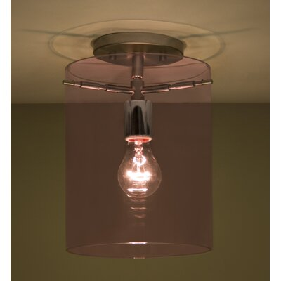 Pahu 1-Light Semi Flush Mount Finish: Satin Nickel, Shade Color: Amethyst