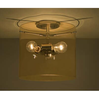 Pahu 1-Light Semi Flush Mount Shade Color: Armagnac, Size: 11.75 H x 15.75 W x 15.75 D