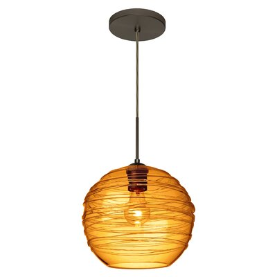 Wave 1-Light Globe Pendant Finish: Brushed Bronze, Shade Color: Amber