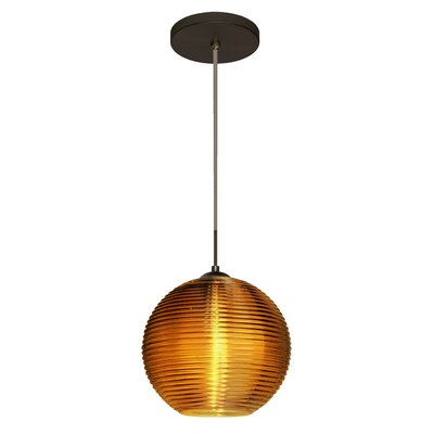 Kristall 1-Light Globe Pendant Finish: Brushed Bronze, Shade Color: Amber