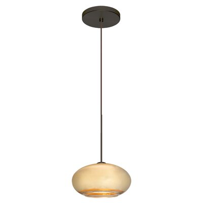 Brio 1 LED Integrated Bulb Globe Pendant Shade Color: Gold Foil, Finish: Satin Nickel